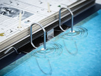 Document folder mechanism illustrated as swimming pool ladder. Business and vacations concept. 3D illustration