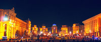 Panorama of Independence Square in Kyiv at night. Lights of night city. Panorama of central part