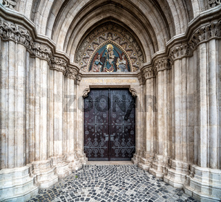 Entrance to the Matthias Church. Budapest, Hungary