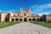 Stone path to the facade of the Convent de San Bernardino de Siena in Valladolid, Yucatan, Mexico