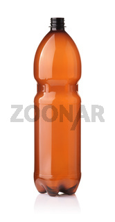 Front view of empty brown plastic bottle