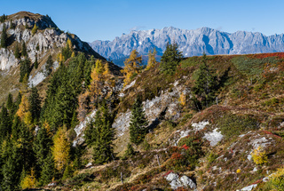 Peaceful autumn Alps mountain sunny view from hiking path from Dorfgastein to Paarseen lakes, Land Salzburg, Austria.