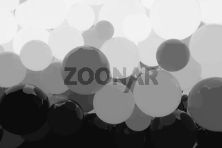 abstract background full of glowing spheres. 3d illustration