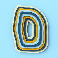 Colorful paper layers font Letter D 3D