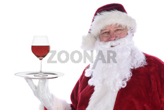 Santa Claus holding silver platter with a single red wine glass isolated on white.