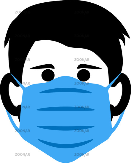 person wearing protective face mask icon or symbol