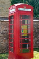 Traditional British Telephone Box converted to defibrillator