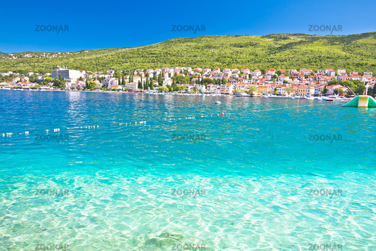 Tourist town of Selce turquoise waterfront beach view