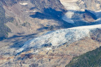 glacial stream flowing from glacier d'Argentiere in the summer