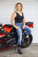 Young woman motocyclist