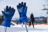 Ski gloves are stuck on ski poles - close-up
