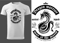 White T-shirt with Black Dragon