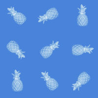 Seamless abstract background of blue pineapples on a blue background