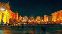 Panorama of Independence Square in Kyiv at night. Lights of night city. Panorama of central part of