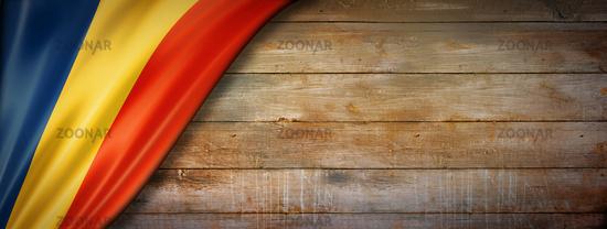 Chad flag on vintage wood wall banner