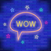 WOW Neon Light. Blue Brick Wall Background. Colorful Starry Pattern with Cartoon Speech Bubble