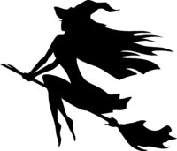 Witch flying on a broomstick