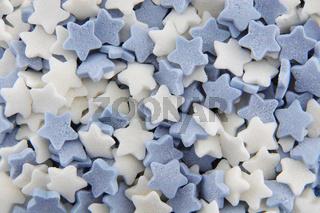Blue and white sugar stars cake decorations