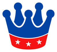 Flat Raster President Crown Icon in American Democratic Colors with Stars