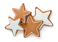 Gingerbread Stars Composition Isolated On White Background
