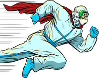 super Hero doctor runs. Covid19 coronavirus epidemic