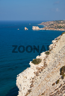 Petra of Romiou coast of the island as seen from the cliff viewpoint. Kouklia. Cyprus