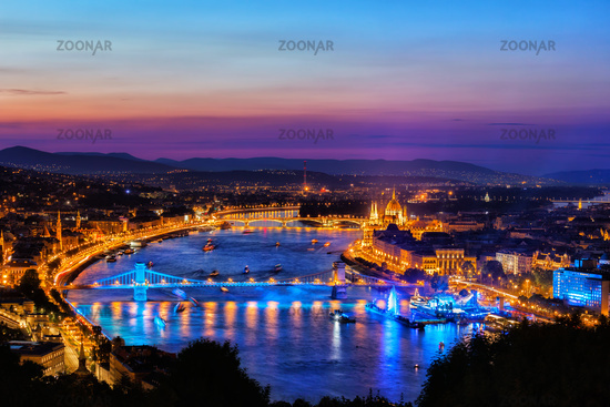 Budapest City At Blue Hour
