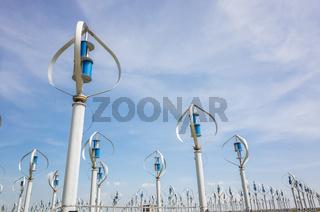 wind turbine in blue sky