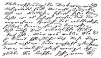 A sample of the printed text in the style of writing of quill pen. Illustration of the 19th century.