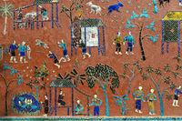 Glasmosaik mit Illustrationen aus der Parabel des Siaosawat