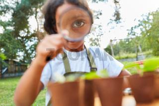 Mädchen betrachtet ein Pflanze durch eine Lupe