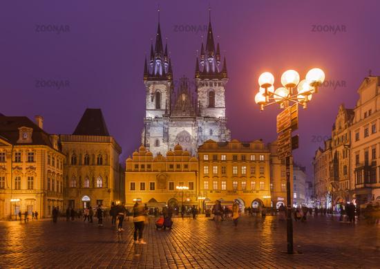 Prague, Czech Republic - October 18, 2017: People walking on the Old Town square (Staromestske Namesti)