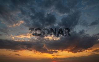 Summer sunset sky panorama background