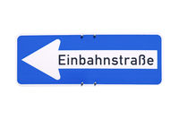 German sign isolated over white. Einbahnstrasse (One Way street)