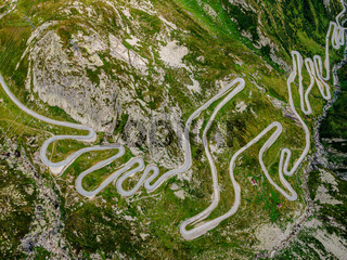 Famous Gotthard Pass in Switzerland - aerial view