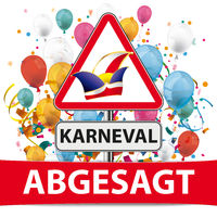 Abgesagt Warning Sign Jesters Cap Karneval Confetti Balloons
