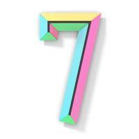 Neon color bright font Number 7 SEVEN 3D