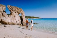 Tropical beach of Voulisma beach, Istron, Crete, Greece, couple on vacation in Greece
