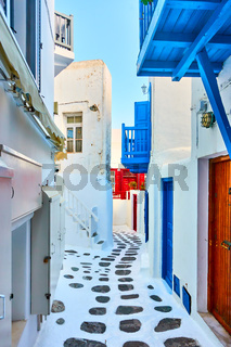 Picturesque street in Mykonos town