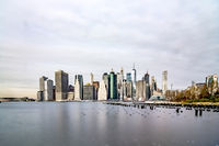 new york city skyline on a cloudy day