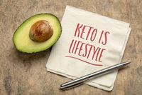 keto is lifestyle - handwriting on napkin