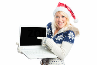 weihnachtsfrau am laptop