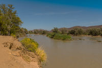 Landscape view of the Kunene River, the border river between Namibia and Angola