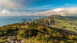 View from Tre'r Ceiri towards Trefor, Gwynedd, Wales, UK