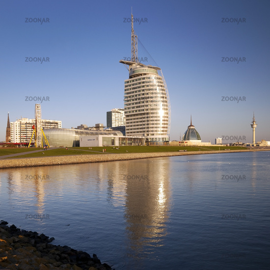 Panorama with Atlantic Hotel Sail City, Bremerhaven, Bremen, Germany, Europe
