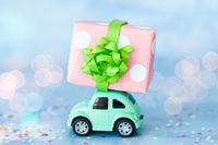 Little car with gift box