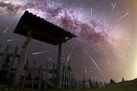 Purple Milky way falling stars wooden door