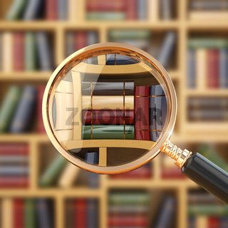 Searching in library. Loupe and books.