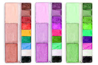 Palettes with different shades of colors. Artist's tools for drawing. The concept of creativity, fine art.