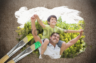 Composite image of father and son in the park